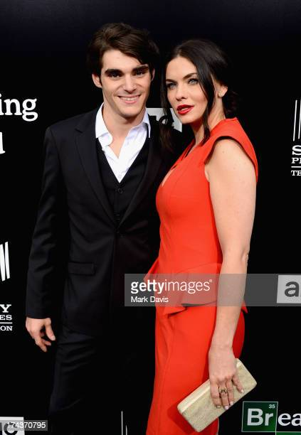 Actors RJ Mitte and Jodi Lyn O'Keefe arrive as AMC Celebrates the final episodes of 'Breaking Bad' at Sony Pictures Studios on July 24 2013 in Culver...