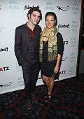 Actors RJ Mitte and Paloma Kwiatkowski attend the premiere of FilmBuff's 'Who's Driving Doug' at the Los Feliz 3 Cinemas on February 26 2016 in Los...