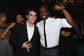 Actors RJ Mitte and Terry Crews at the MEN'S FITNESS 2014 GAME CHANGERS event at Palihouse on September 17 2014 in West Hollywood California