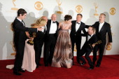 Actors RJ Mitte Anna Gunn Dean Norris Betsy Brandt Bryan Cranston Aaron Paul Bob Odenkirk and Jonathan Banks pose in the press room during the 65th...