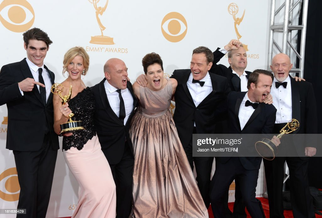 Actors RJ Mitte, Anna Gunn, Dean Norris, Betsy Brandt, Bryan Cranston, Aaron Paul, Bob Odenkirk and Jonathan Banks, winners of the Best Drama Series Award for 'Breaking Bad' pose in the press room during the 65th Annual Primetime Emmy Awards held at Nokia Theatre L.A. Live on September 22, 2013 in Los Angeles, California.