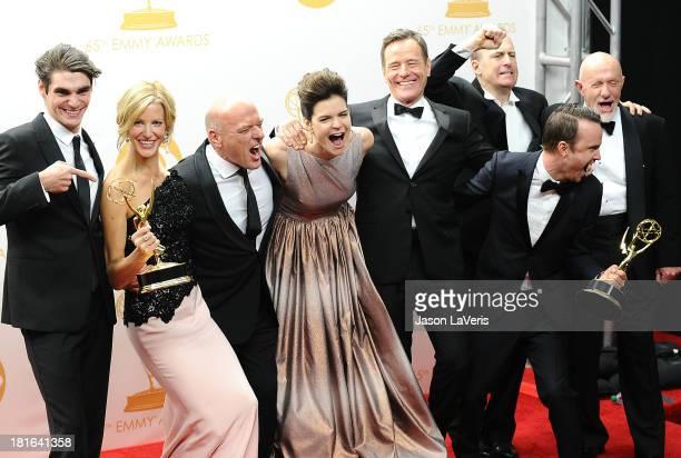 Actors RJ Mitte Anna Gunn Dean Norris Jonathan Banks Betsy Brandt Bryan Cranston Aaron Paul and Bob Odenkirk winners of the Best Drama Series Award...