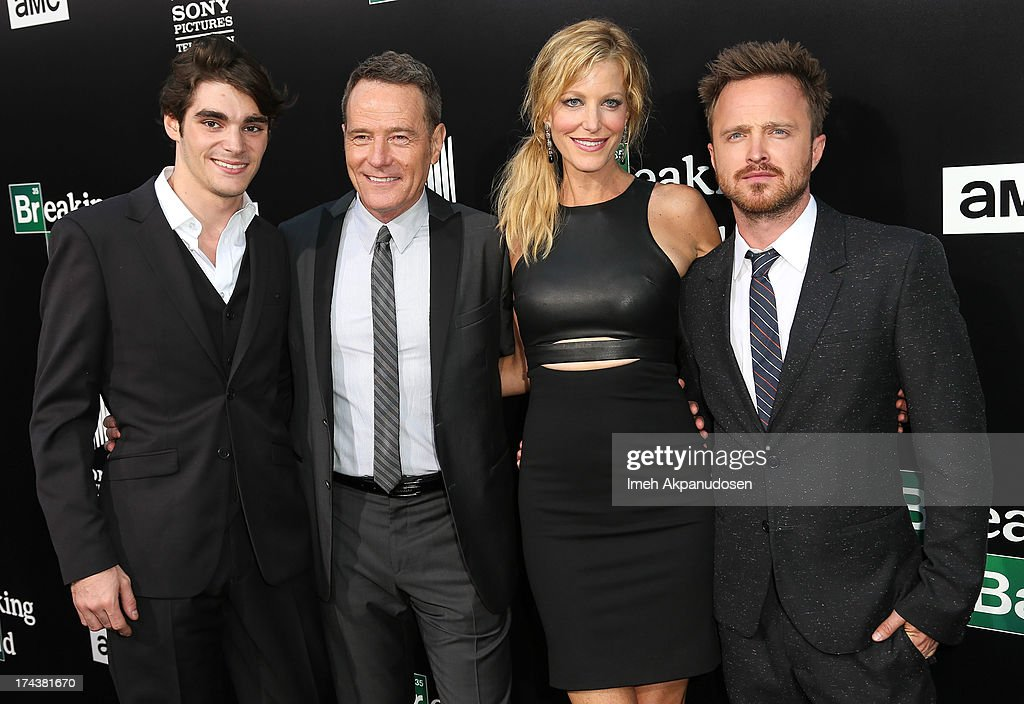 Actors RJ Mitte Bryan Cranston Anna Gunn and Aaron Paul arrive as AMC Celebrates the final episodes of 'Breaking Bad' at Sony Pictures Studios on...