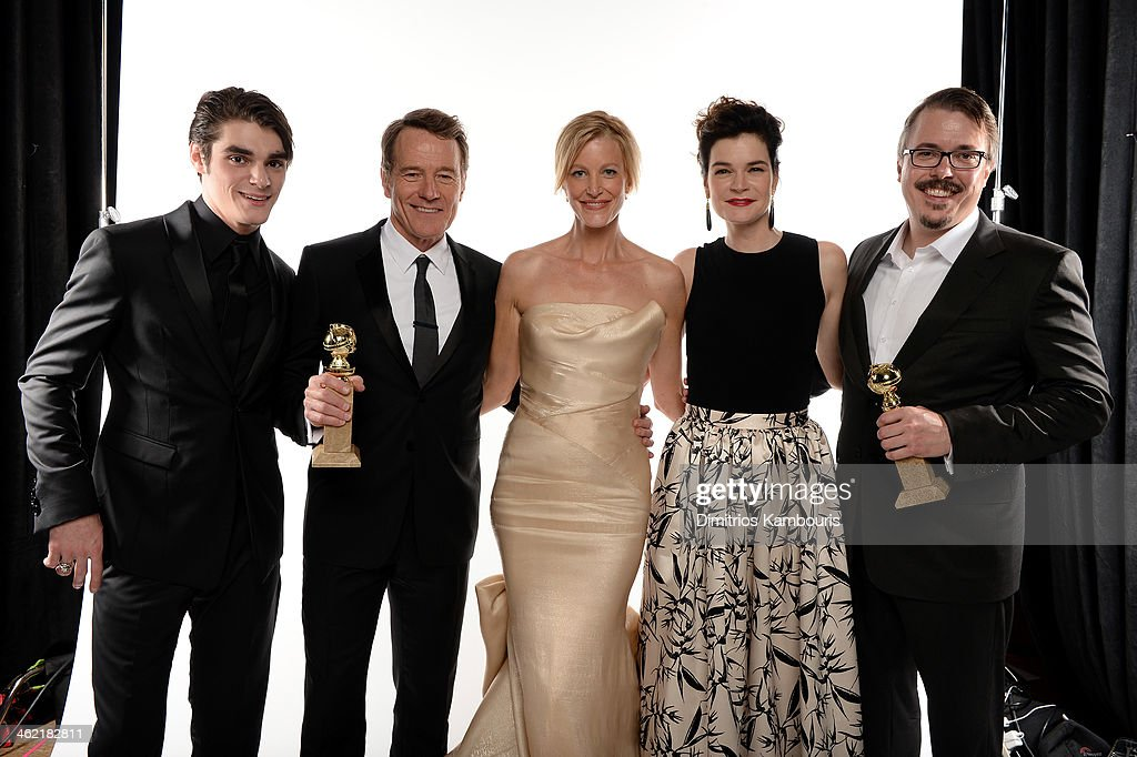Actors RJ Mitte Bryan Cranston winner of Best Performance in a Television Series Drama Anna Gunn Betsy Brandt and producer Vince Gilligan winner of...