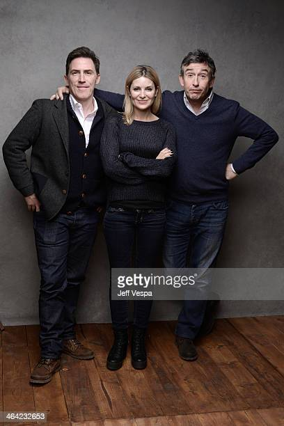 Actors Rob Brydon Rosie Fellner and Steve Coogan pose for a portrait during the 2014 Sundance Film Festival at the Getty Images Portrait Studio at...