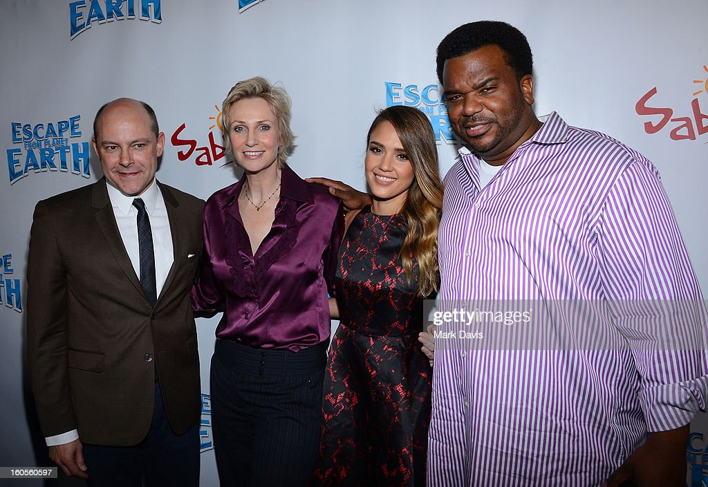 Actors <a gi-track='captionPersonalityLinkClicked' href=/galleries/search?phrase=Rob+Corddry&family=editorial&specificpeople=583934 ng-click='$event.stopPropagation()'>Rob Corddry</a>, <a gi-track='captionPersonalityLinkClicked' href=/galleries/search?phrase=Jane+Lynch&family=editorial&specificpeople=663918 ng-click='$event.stopPropagation()'>Jane Lynch</a>, <a gi-track='captionPersonalityLinkClicked' href=/galleries/search?phrase=Jessica+Alba&family=editorial&specificpeople=201811 ng-click='$event.stopPropagation()'>Jessica Alba</a> and Craig Robinson attend the premiere of the Weinstein Company's 'Escape From Planet Earth' held at the Mann Chinese 6 on February 2, 2013 in Los Angeles, California.