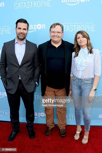 Actors Rob Delaney Andy Richter and Sharon Horgan arrive at the screening of Amazon's 'Catastrophe' Season 2 at The London Hotel on April 3 2016 in...
