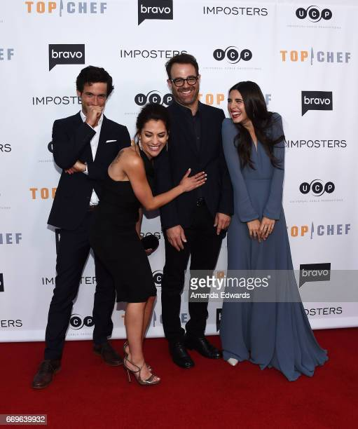 Actors Rob Heaps Inbar Lavi Paul Adelstein and Marianne Rendon arrive at the Bravo 'Imposters' For Your Consideration event with a food and cocktail...