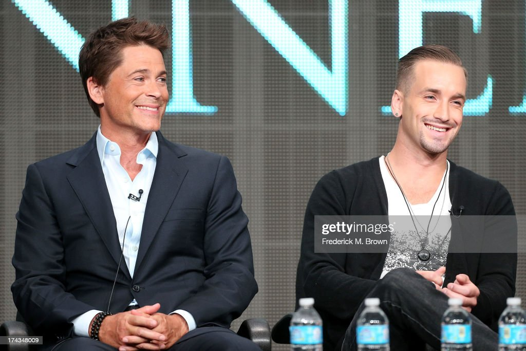 Actors Rob Lowe (L) and Will Rothhaar speak onstage during the Killing Kennedy panel at the National Geographic Channels portion of the 2013 Summer Television Critics Association tour at the Beverly Hilton Hotel on July 24, 2013 in Beverly Hills, California.