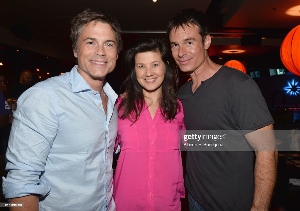 Actors <a gi-track='captionPersonalityLinkClicked' href=/galleries/search?phrase=Rob+Lowe&family=editorial&specificpeople=211607 ng-click='$event.stopPropagation()'>Rob Lowe</a>, <a gi-track='captionPersonalityLinkClicked' href=/galleries/search?phrase=Daphne+Zuniga&family=editorial&specificpeople=210889 ng-click='$event.stopPropagation()'>Daphne Zuniga</a> and <a gi-track='captionPersonalityLinkClicked' href=/galleries/search?phrase=Patrick+Muldoon&family=editorial&specificpeople=1665677 ng-click='$event.stopPropagation()'>Patrick Muldoon</a> attend the Best Buddies' Bowling For Buddies Event at Lucky Strike Lanes at L.A. Live on April 21, 2013 in Los Angeles, California.