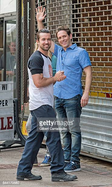Actors Rob McElhenney and Glenn Howerton are seen filming scenes of season 12 of 'It's Always Sunny In Philadelphia' sitcom on July 1 2016 in...