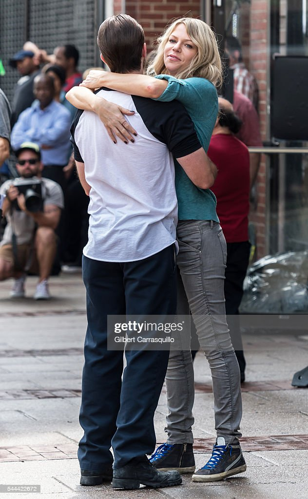 Actors Rob McElhenney and Kaitlin Olson are seen filming scenes of season 12 of It's Always Sunny In Philadelphia sitcom on July 1 2016 in...