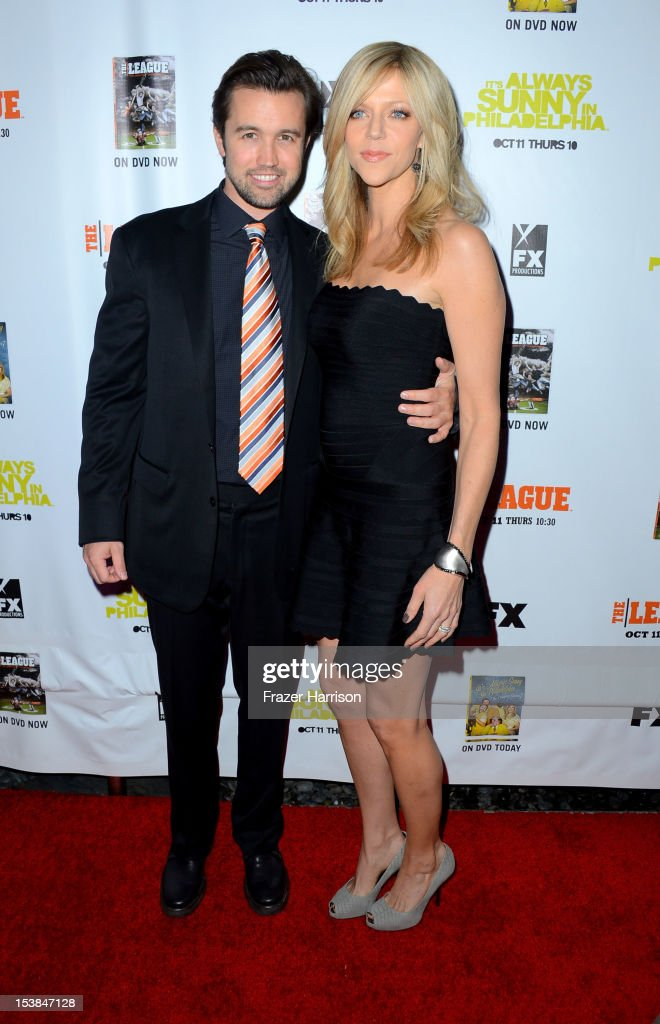 Actors <a gi-track='captionPersonalityLinkClicked' href=/galleries/search?phrase=Rob+McElhenney&family=editorial&specificpeople=537737 ng-click='$event.stopPropagation()'>Rob McElhenney</a> and <a gi-track='captionPersonalityLinkClicked' href=/galleries/search?phrase=Kaitlin+Olson&family=editorial&specificpeople=537734 ng-click='$event.stopPropagation()'>Kaitlin Olson</a> arrive at the Premiere Screenings of FX's 'It's Always Sunny In Philadelphia' Season 8 and 'The League' Season 4 at ArcLight Cinemas Cinerama Dome on October 9, 2012 in Hollywood, California.