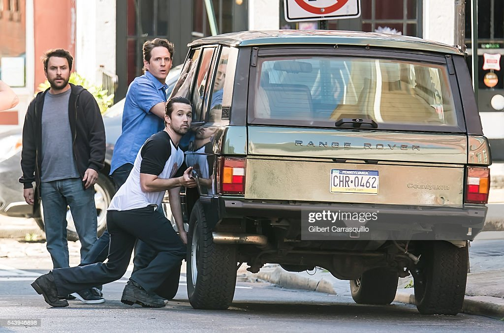 Actors <a gi-track='captionPersonalityLinkClicked' href=/galleries/search?phrase=Rob+McElhenney&family=editorial&specificpeople=537737 ng-click='$event.stopPropagation()'>Rob McElhenney</a>, <a gi-track='captionPersonalityLinkClicked' href=/galleries/search?phrase=Charlie+Day&family=editorial&specificpeople=537731 ng-click='$event.stopPropagation()'>Charlie Day</a> and <a gi-track='captionPersonalityLinkClicked' href=/galleries/search?phrase=Glenn+Howerton&family=editorial&specificpeople=537733 ng-click='$event.stopPropagation()'>Glenn Howerton</a> are seen filming scenes of season 12 of It's Always Sunny In Philadelphia sitcom in Philadelphia, Pennsylvania.