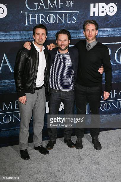 Actors Rob McElhenney Charlie Day and Glenn Howerton arrive at the premiere of HBO's 'Game of Thrones' Season 6 at the TCL Chinese Theatre on April...