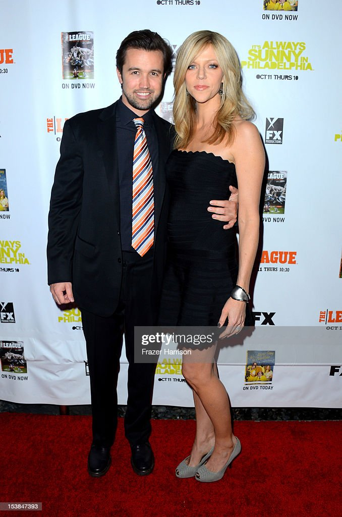 Actors Rob McElhenny and <a gi-track='captionPersonalityLinkClicked' href=/galleries/search?phrase=Kaitlin+Olson&family=editorial&specificpeople=537734 ng-click='$event.stopPropagation()'>Kaitlin Olson</a> arrive at the Premiere Screenings of FX's 'It's Always Sunny In Philadelphia' Season 8 and 'The League' Season 4 at ArcLight Cinemas Cinerama Dome on October 9, 2012 in Hollywood, California.