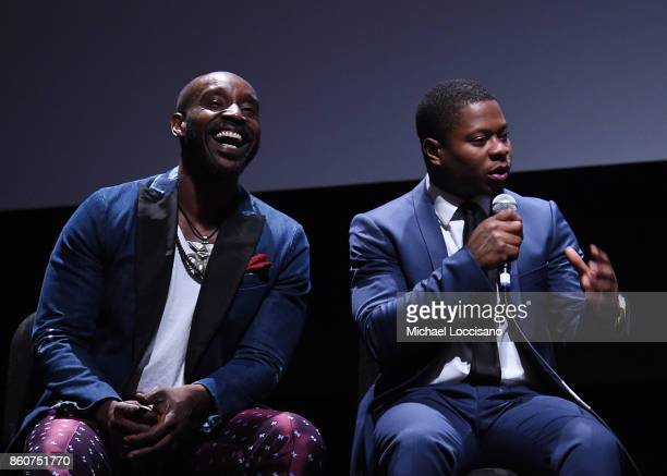 Actors Rob Morgan and Jason Mitchell take part in a QA following the 'Mudbound' screening during the 55th New York Film Festival at Alice Tully Hall...