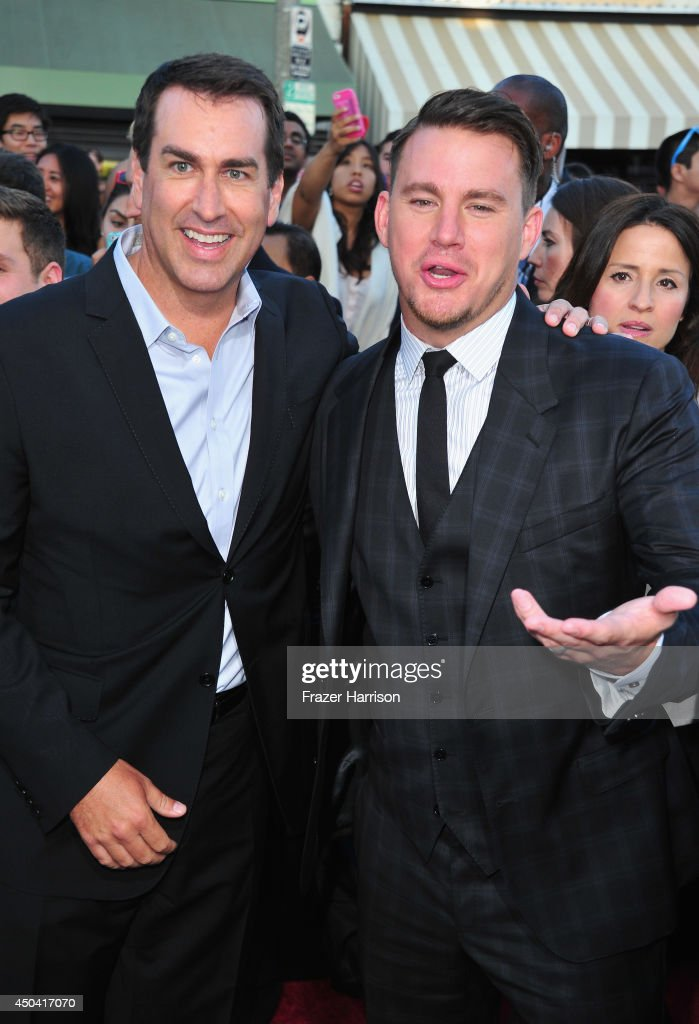 Actors <a gi-track='captionPersonalityLinkClicked' href=/galleries/search?phrase=Rob+Riggle&family=editorial&specificpeople=2789494 ng-click='$event.stopPropagation()'>Rob Riggle</a> and <a gi-track='captionPersonalityLinkClicked' href=/galleries/search?phrase=Channing+Tatum&family=editorial&specificpeople=549548 ng-click='$event.stopPropagation()'>Channing Tatum</a> attend the Premiere Of Columbia Pictures' '22 Jump Street' at Regency Village Theatre on June 10, 2014 in Westwood, California.