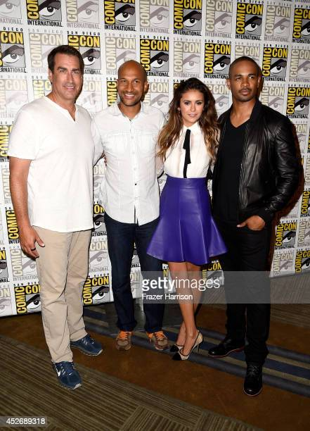 Actors Rob Riggle KeeganMichael Key Nina Dobrev and Damon Wayans Jr attend 20th Century Fox Press Line during ComicCon International 2014 at Hilton...