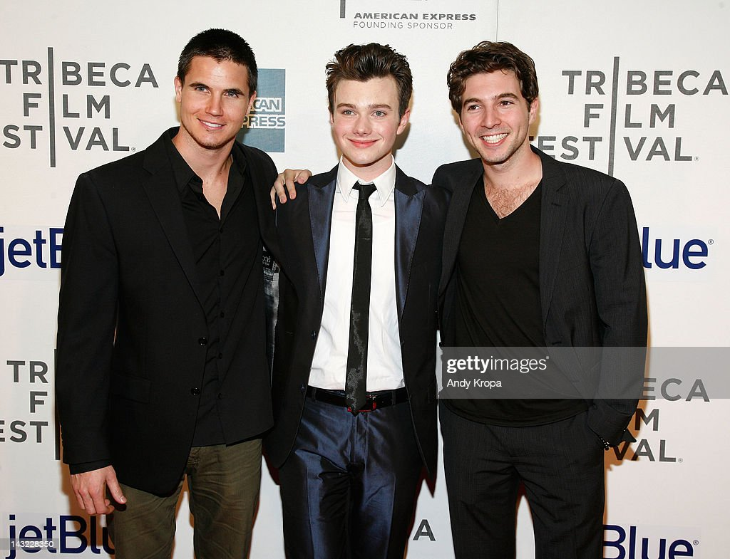 Actors Robbie Amell, Chris Colfer and Roberto Aguire attend 'Struck By Lightning' Premiere during the 2012 Tribeca Film Festival at the Borough of Manhattan Community College on April 21, 2012 in New York City.