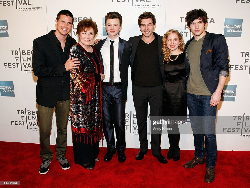 Actors Robbie Amell, Polly Bergen, Chris Colfer, Roberto Aguire, Allie Grant and Carter Jenkins attend 'Struck By Lightning' Premiere during the 2012 Tribeca Film Festival at the Borough of Manhattan Community College on April 21, 2012 in New York City.