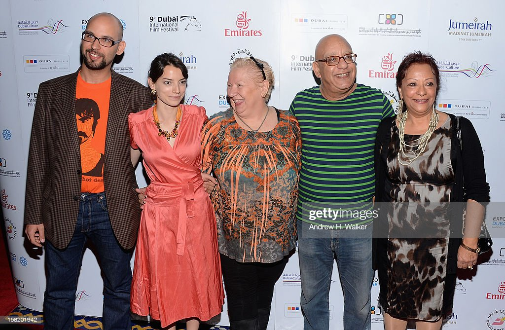 Actors Robert Beshara, Maria Garrido, Jadwiga Kowalczyk, director Khairy Beshara and actress Sanaa B Fahmy attend the 'Moondog' premiere during day three of the 9th Annual Dubai International Film Festival held at the Madinat Jumeriah Complex on December 11, 2012 in Dubai, United Arab Emirates.