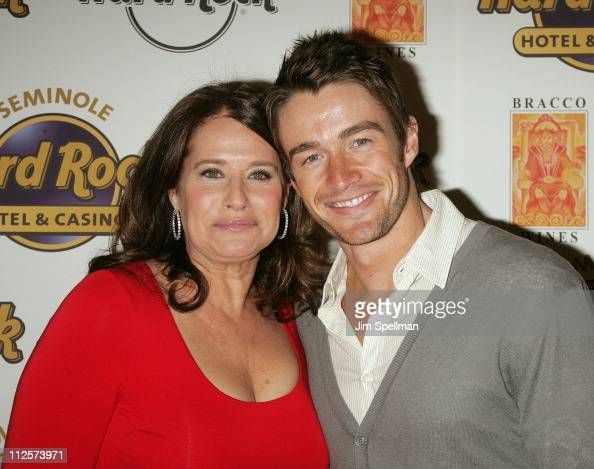 Actors Robert Buckley and Lorraine Bracco arrive at the Bracco Wines Launch at the Hard Rock Cafe on February 25 2008 in New York City
