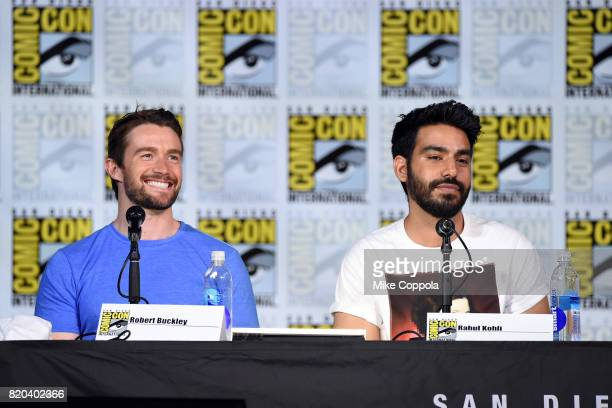 Actors Robert Buckley and Rahul Kohli speak onstage at the iZOMBIE special video presentation and QA during ComicCon International 2017 at San Diego...