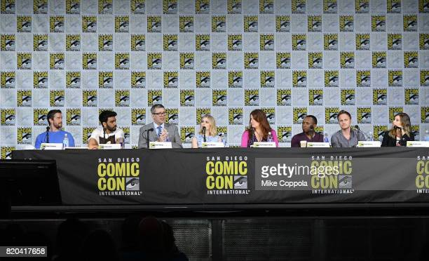 Actors Robert Buckley and Rahul Kohli writer/producer Rob Thomas actor Rose McIver writer/producer Diane RuggieroWright actors Malcolm Goodwin David...