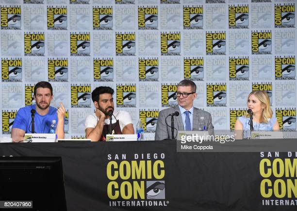 Actors Robert Buckley and Rahul Kohli writer/producer Rob Thomas and actor Rose McIver speak onstage at the iZOMBIE special video presentation and QA...