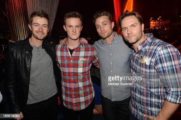 Actors Robert Buckley Ross Philips Wilson Bethel and Scott Porter attend the Assasin's Creed IV Black Flag Launch Party at Greystone Manor Supperclub...