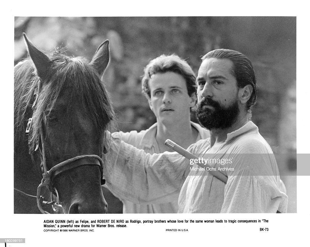 Actors Robert De Niro and Aidan Quinn on the set of Warner Bros movie ' The Mission' in 1986