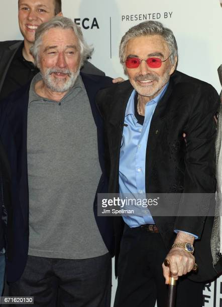 Actors Robert De Niro and Burt Reynolds attend the 'Dog Years' screening during the 2017 Tribeca Film Festival the at Cinepolis Chelsea on April 22...
