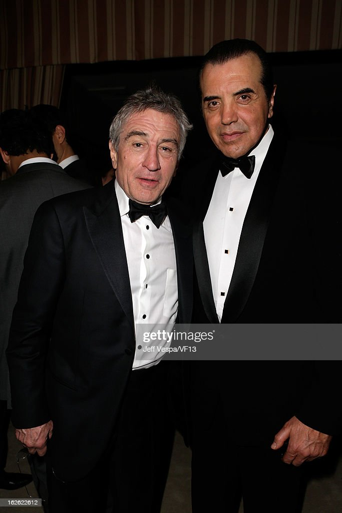 Actors Robert De Niro and Chazz Palminteri attend the 2013 Vanity Fair Oscar Party hosted by Graydon Carter at Sunset Tower on February 24 2013 in...