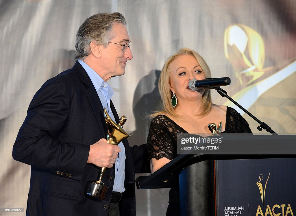 Actors <a gi-track='captionPersonalityLinkClicked' href=/galleries/search?phrase=Robert+De+Niro&family=editorial&specificpeople=201673 ng-click='$event.stopPropagation()'>Robert De Niro</a> (L) and <a gi-track='captionPersonalityLinkClicked' href=/galleries/search?phrase=Jacki+Weaver&family=editorial&specificpeople=220549 ng-click='$event.stopPropagation()'>Jacki Weaver</a> accept awards for best supporting actor onstage during the Australian Academy of Cinema and Television Arts' 2nd AACTA International Awards at Soho House on January 26, 2013 in West Hollywood, California.