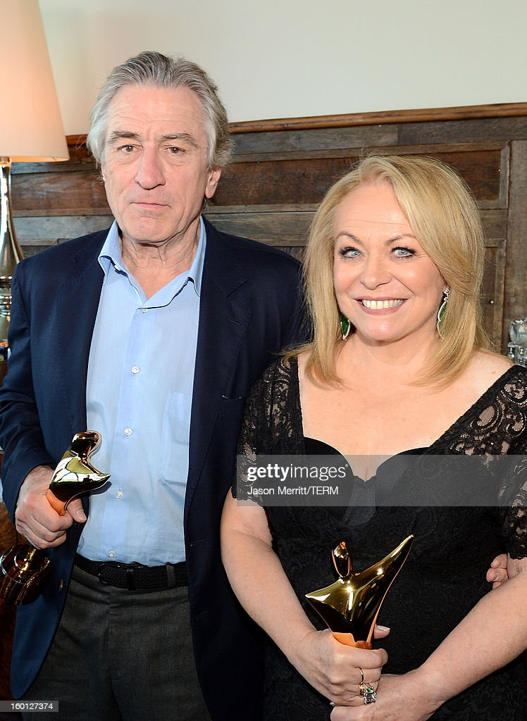 Actors <a gi-track='captionPersonalityLinkClicked' href=/galleries/search?phrase=Robert+De+Niro&family=editorial&specificpeople=201673 ng-click='$event.stopPropagation()'>Robert De Niro</a> (L) and <a gi-track='captionPersonalityLinkClicked' href=/galleries/search?phrase=Jacki+Weaver&family=editorial&specificpeople=220549 ng-click='$event.stopPropagation()'>Jacki Weaver</a> attend the Australian Academy of Cinema and Television Arts' 2nd AACTA International Awards at Soho House on January 26, 2013 in West Hollywood, California.