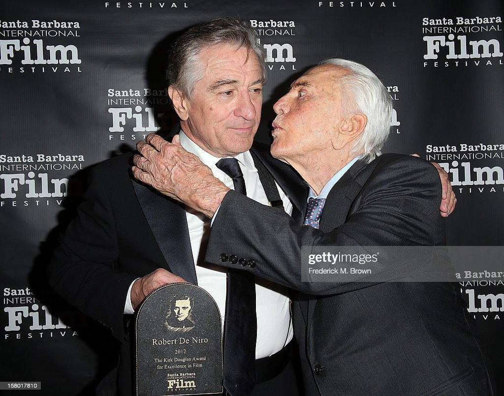 Actors <a gi-track='captionPersonalityLinkClicked' href=/galleries/search?phrase=Robert+De+Niro&family=editorial&specificpeople=201673 ng-click='$event.stopPropagation()'>Robert De Niro</a> (L) and <a gi-track='captionPersonalityLinkClicked' href=/galleries/search?phrase=Kirk+Douglas+-+Actor&family=editorial&specificpeople=13450359 ng-click='$event.stopPropagation()'>Kirk Douglas</a> attend the SBIFF's 2012 <a gi-track='captionPersonalityLinkClicked' href=/galleries/search?phrase=Kirk+Douglas+-+Actor&family=editorial&specificpeople=13450359 ng-click='$event.stopPropagation()'>Kirk Douglas</a> Award For Excellence In Film during the Santa Barbara Film Festival on December 8, 2012 in Goleta, California.