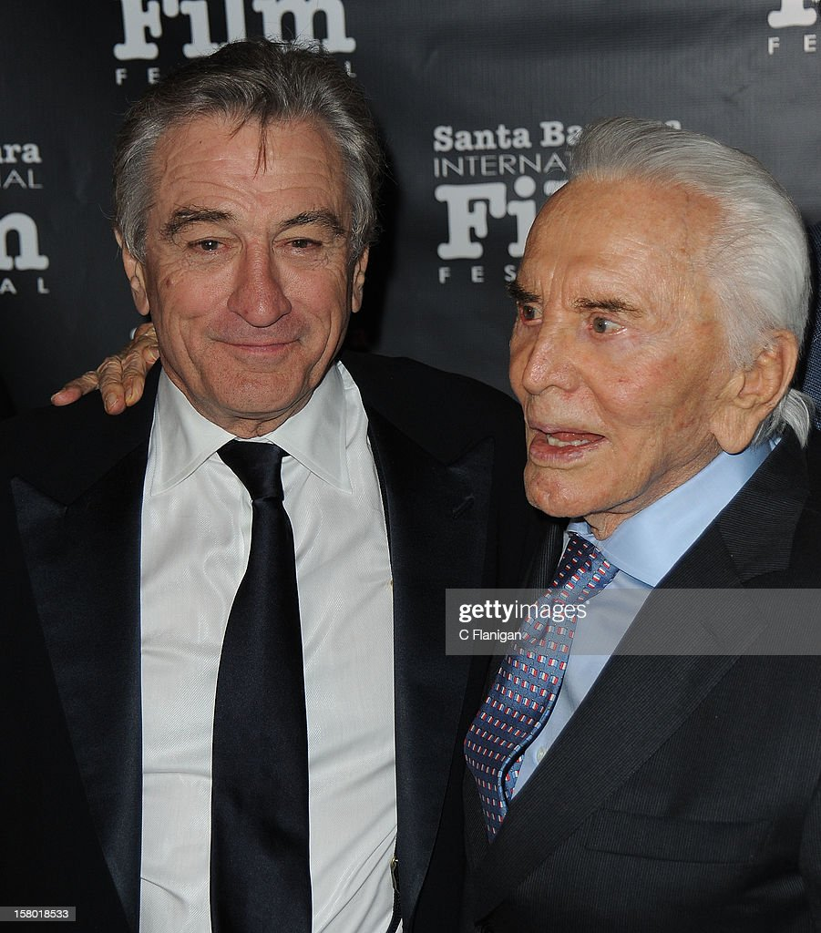 Actors <a gi-track='captionPersonalityLinkClicked' href=/galleries/search?phrase=Robert+De+Niro&family=editorial&specificpeople=201673 ng-click='$event.stopPropagation()'>Robert De Niro</a> (L) and <a gi-track='captionPersonalityLinkClicked' href=/galleries/search?phrase=Kirk+Douglas+-+Actor&family=editorial&specificpeople=13450359 ng-click='$event.stopPropagation()'>Kirk Douglas</a> attend the SBIFF's 2012 <a gi-track='captionPersonalityLinkClicked' href=/galleries/search?phrase=Kirk+Douglas+-+Actor&family=editorial&specificpeople=13450359 ng-click='$event.stopPropagation()'>Kirk Douglas</a> Award For Excellence In Film during the Santa Barbara Film Festival on December 8, 2012 in Santa Barbara, California.