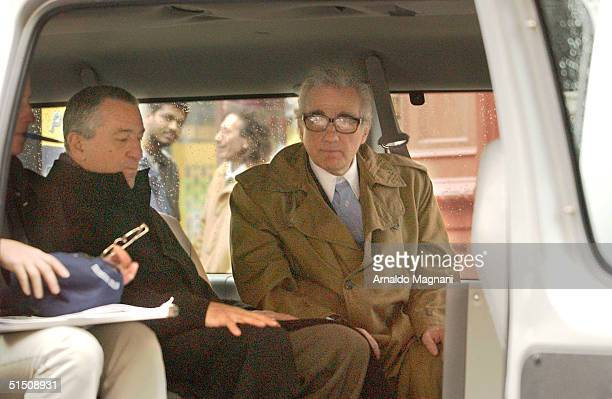 Actors Robert De Niro and Martin Scorsese film a commercial for American Express in SoHo October 19 2004 in New York City