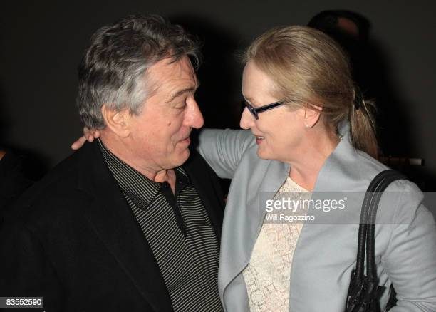 Actors Robert De Niro and Meryl Streep attend the Kageno Harambee gala at Stephan Weiss Studio on November 3 2008 in New York City