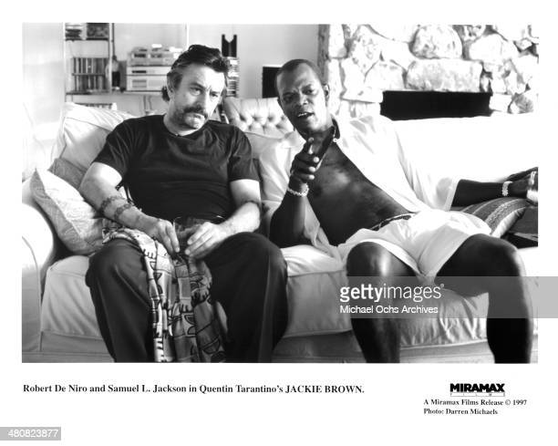 Actors Robert De Niro and Samuel L Jackson in a scene from the Miramax movie 'Jackie Brown' circa 1997