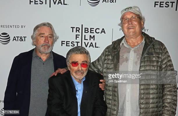 Actors Robert De Niro Burt Reynolds and Chevy Chase attend the 'Dog Years' screening during the 2017 Tribeca Film Festival at Cinepolis Chelsea on...