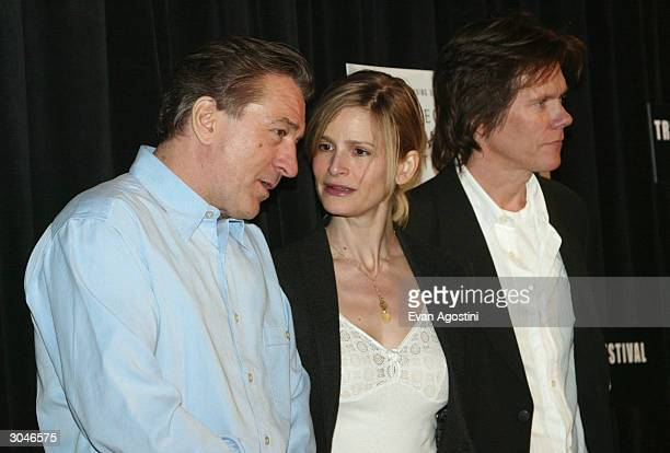 Actors Robert De Niro Kyra Sedgwick and Kevin Bacon attend the 2004 Tribeca Film Festival kickoff media conference at Silver Cup Studios March 5 2004...