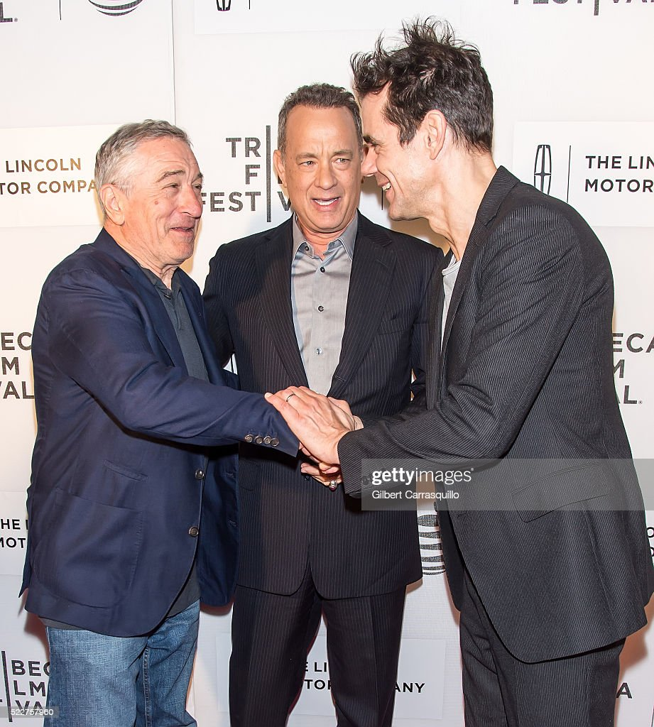 Actors Robert De Niro Tom Hanks and director/producer Tom Tykwer attend 'A Hologram For The King' World Premiere during 2016 Tribeca Film Festival at...