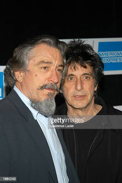 Actors Robert Deniro and Al Pacino arrive at the Tribeca Film Festival screening of 'An Evening of Chinese Coffee and Conversation' May 8 2003 in New...