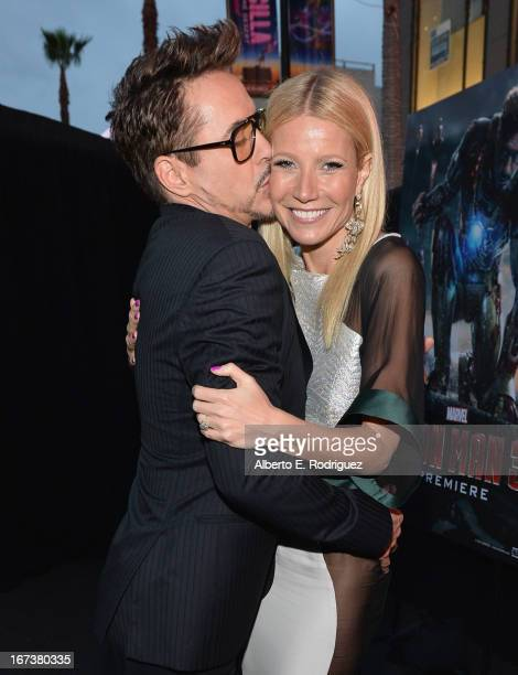 Actors Robert Downey Jr and Gwyneth Paltrow attend Marvel's' Iron Man 3 Premiere at the El Capitan Theatre on April 24 2013 in Hollywood California