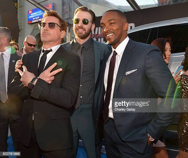 Actors Robert Downey Jr Chris Evans and Anthony Mackie attend The World Premiere of Marvel's 'Captain America Civil War' at Dolby Theatre on April 12...