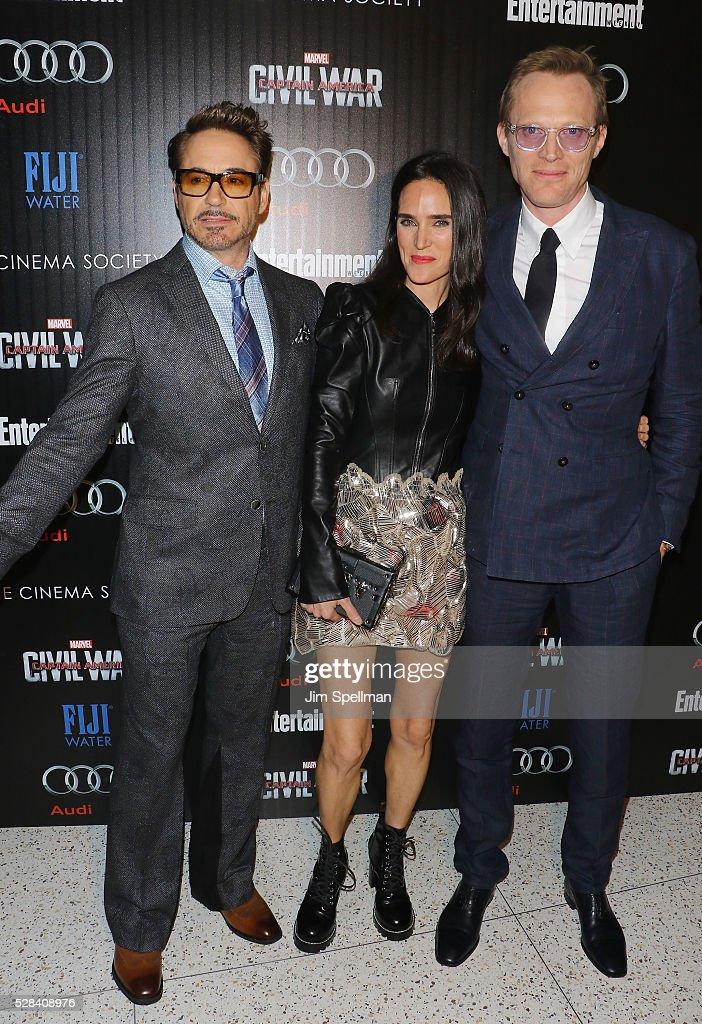 Actors Robert Downey Jr, Jennifer Connelly and Paul Bettany attend the screening of Marvel's 'Captain America: Civil War' hosted by The Cinema Society with Audi & FIJI at Brookfield Place on May 4, 2016 in New York City.