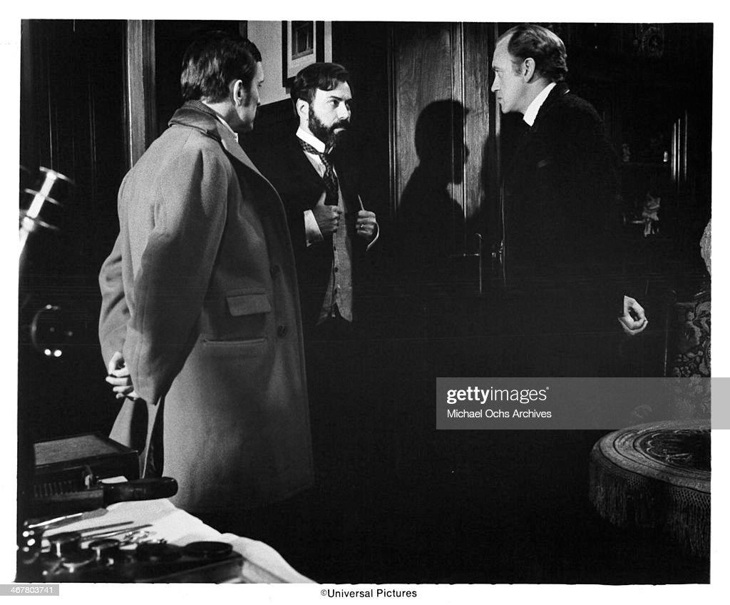 Actors Robert Duvall Alan Arkin and Nicol Williamson on set of the movie 'The SevenPerCent Solution' circa 1976