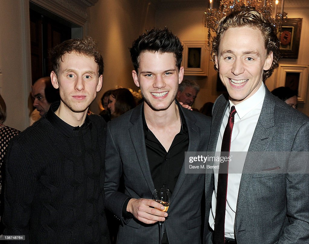 Actors Robert Emms, Jeremy Irvine and Tom Hiddleston attend the Dreamworks Pre-BAFTA Tea Party in celebration of 'The Help' and 'War Horse' at The Arts Club on February 11, 2012 in London, England.